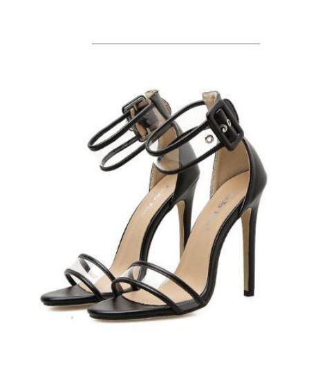 Sandale stiletto eleganti sabot 11 cm nero simil pelle eleganti CW886