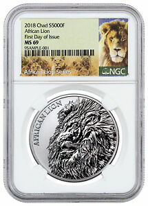 2018 Republic Of Chad African Lion 1 Oz Silver 5,000f Coin Ngc Ms69 Fdi Sku51649 Strong Resistance To Heat And Hard Wearing Other African Coins
