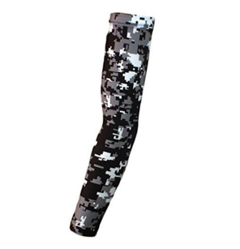 Basketball Sport Dri Fit Compression Arm Sleeve Black Gray Digital Camo NEW