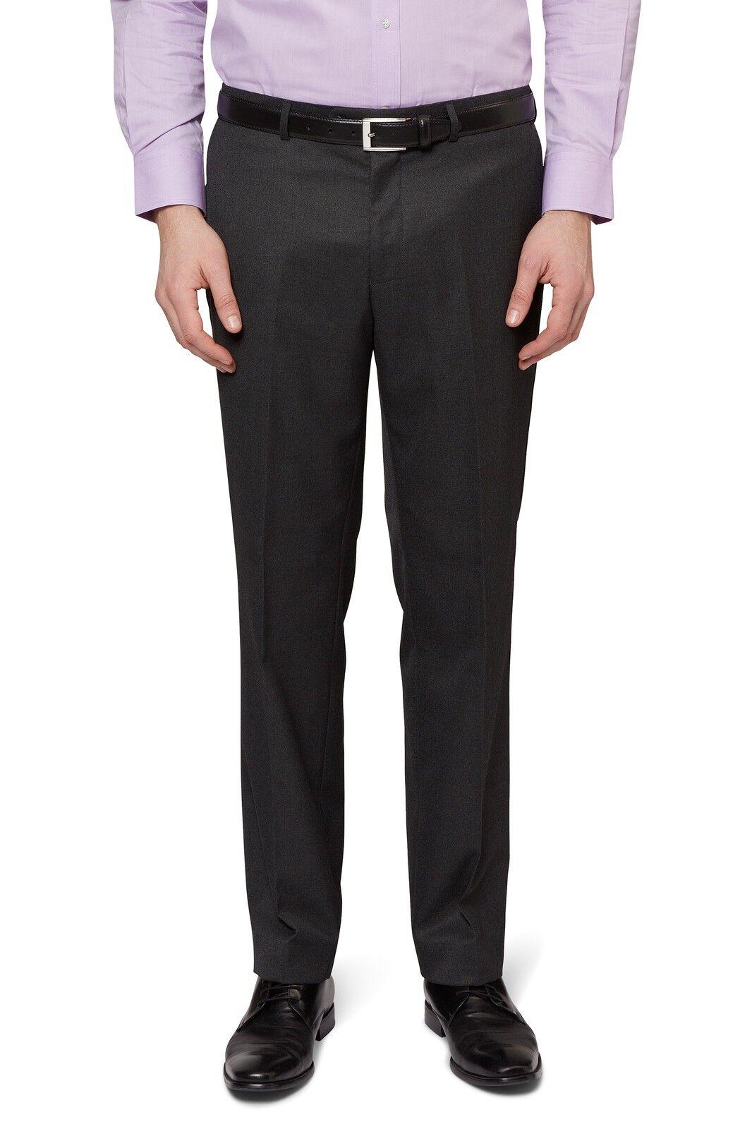 Moss Esq. Mens Grey Suit Trousers Regular Fit Flat Front Formal Charcoal Pants