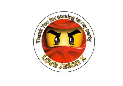 Personalised Circle LEGO Ninjago Birthday Party Thank You Sticker Labels 58