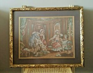 Antique-Tapestry-French-Aubusson-Style-Wall-Hanging-Framed-21-034-x-18-034-Vintage