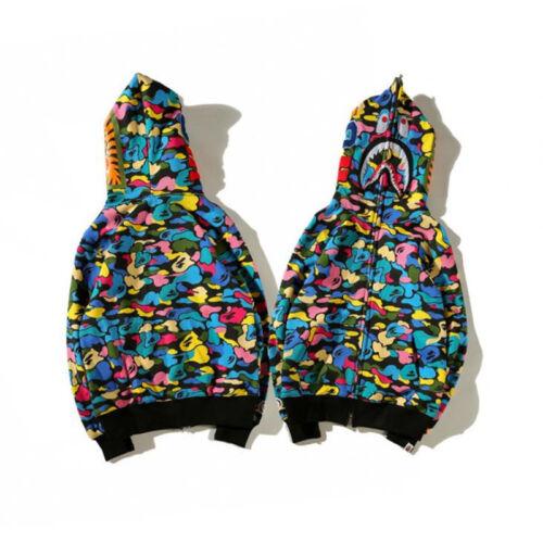 Unisex Bape A Bathing Ape Casual Hoodie Colorful Camo Shark Jaw Head Jacket Coat