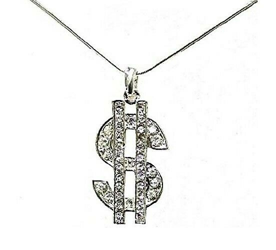 Dollar Sign Pendant Necklace Medallion Gangster Pop Star Cosplay Dress Accessory