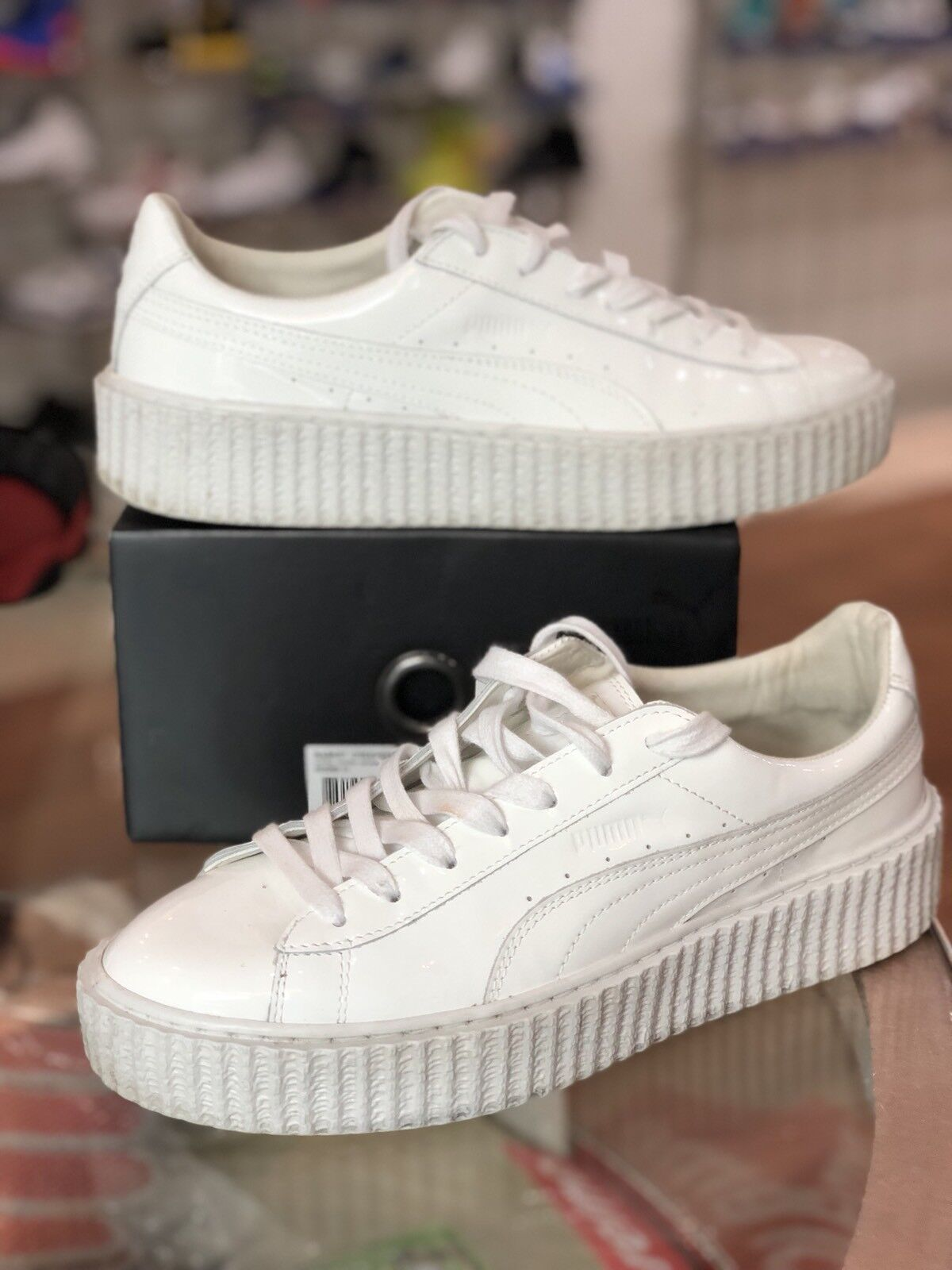 PUMA Rihanna Fenty Basket Creepers SIZE 10 White Glo Triple White US Women's