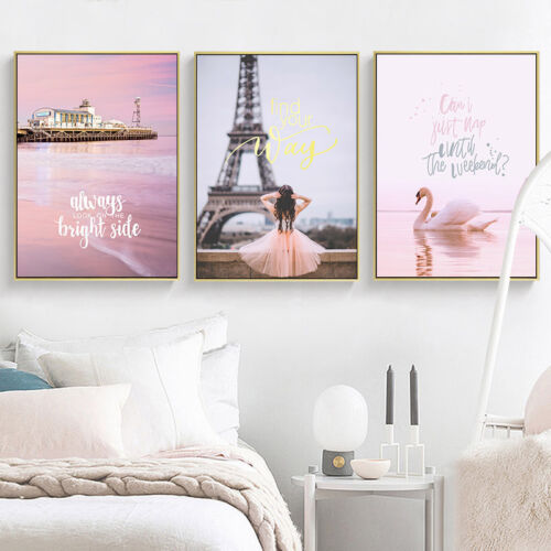 Eiffel Tower Swan Canvas Poster Sweet Nordic Wall Art Print Decorative Picture