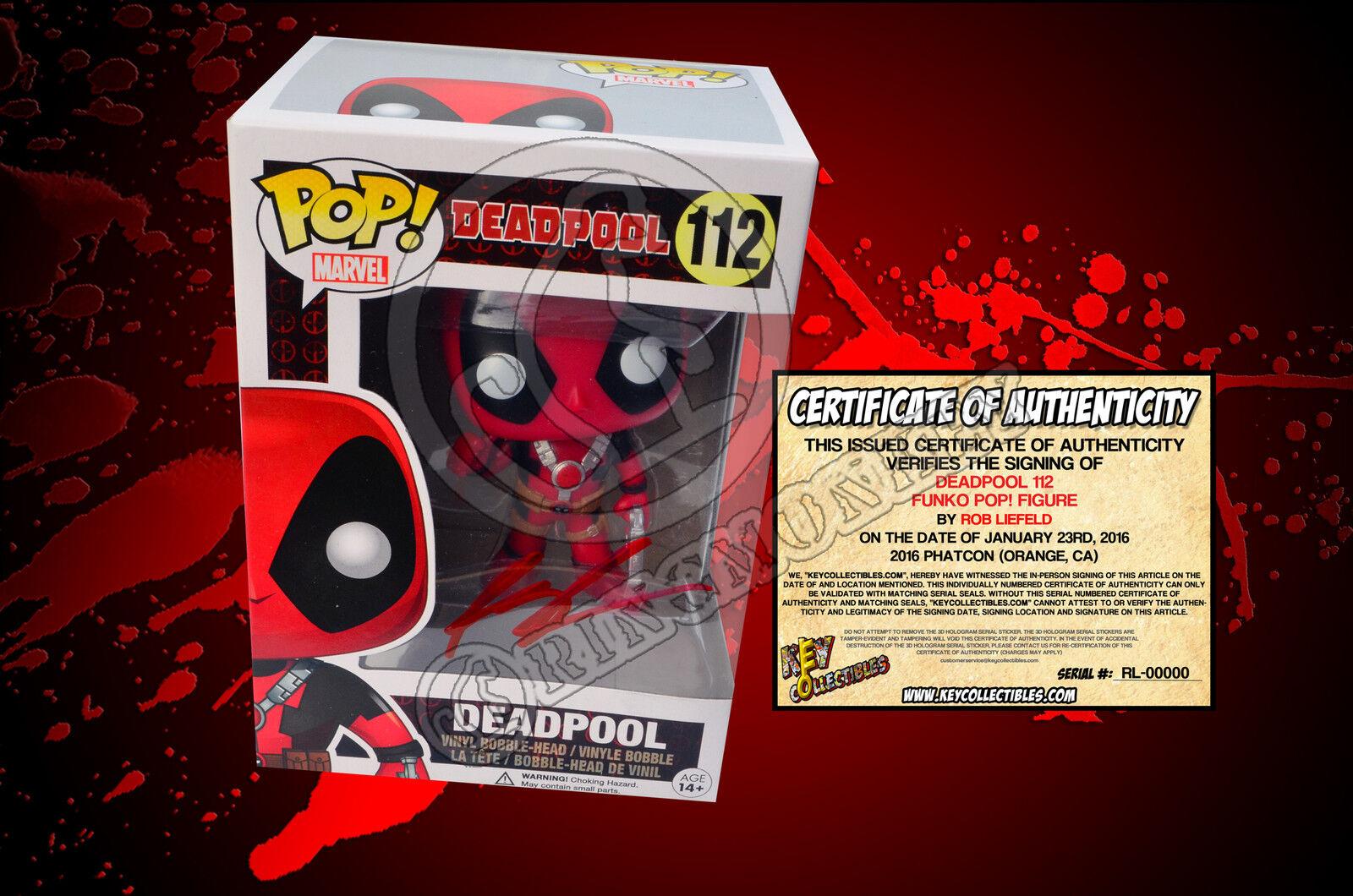 förundras Deadpool 112 tummar upp Funko POP Figur signerad av ROB livLD COA