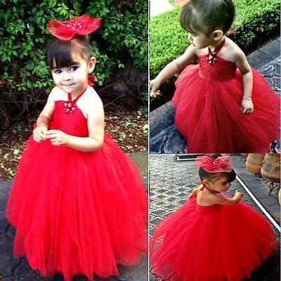 Girl kids Pageant Dress Bridesmaid Prom Party Princess Ball Gown Formal Dress UK