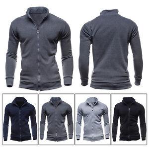 Herren-Warm-Sweatshirt-Reissverschluss-Mantel-Jacke-Slim-Fit-Langarm-Jacken