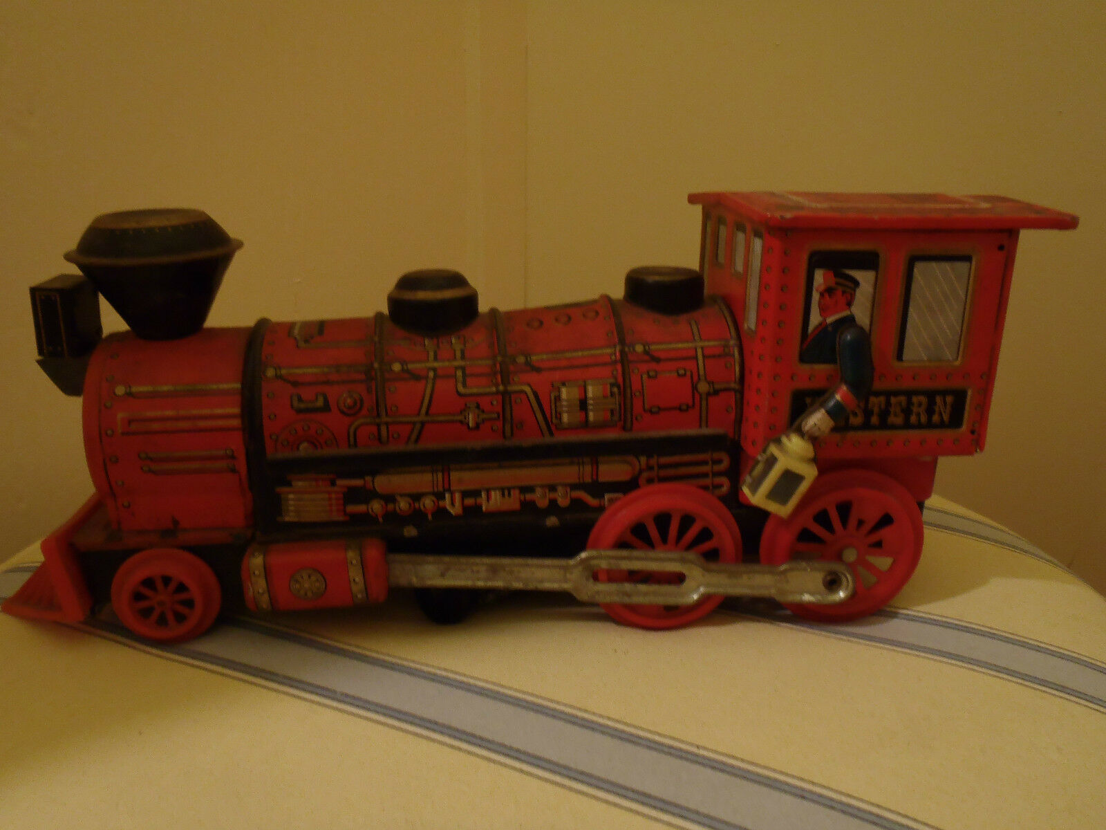 Modern Toy Western Battery Tin Litho Train Vintage Articulated Vtg
