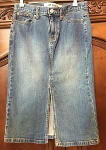 GAP-Blue-Denim-STRETCH-Front-Slit-A-Line-Jean-Skirt-Size-2-EUC-Knee-Length