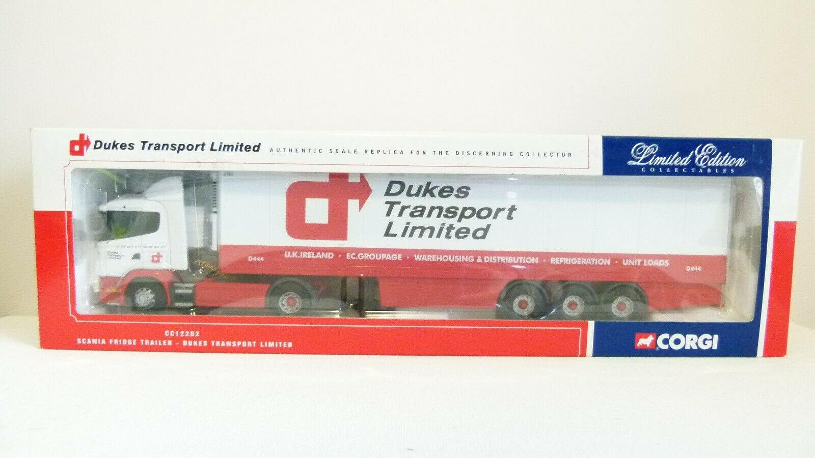 CORGI Limited Edition CC12202-Dukes Transport LIMITED SCANIA Frigo remorque