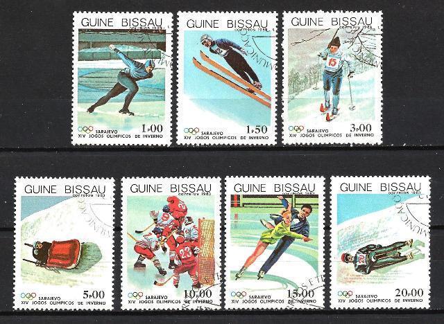 JO Invierno Guinea Bissau (11) serie completo de 7 sellos matasellados