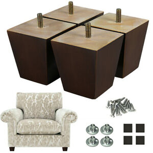 Details about 4x Wood Sofa Legs 3 in Couch Legs Square for Furniture Chair  Bed Recliner