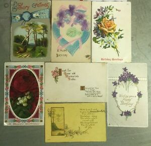 Lot Of 7 Early 1900s Birthday Greetings Postcards K