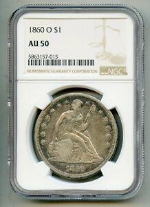 1860 O Seated Liberty Silver Dollar NGC AU 50