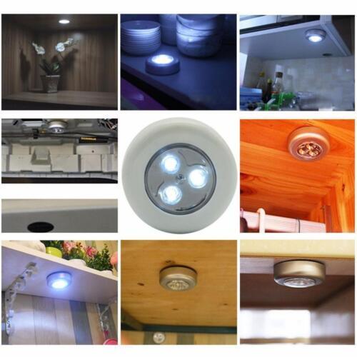 LED Battery Powered Stick Kitchen Cabinet Closet Wall Light Night Touch Lamp USA