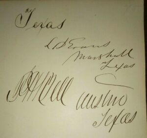 Texas Governor Peter H Bell & Chief Justice Lemuel D Evans Autographs - Signed