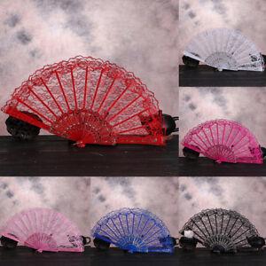 Chinese-Lace-Silk-Folding-Hand-Held-Dance-Fan-Flower-Frame-Pattern-Party-Hw