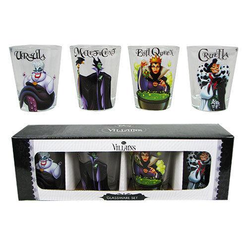 Disney Villains Shot Glasses Set Barware Set Disney Shot Glasses Licensed NEW