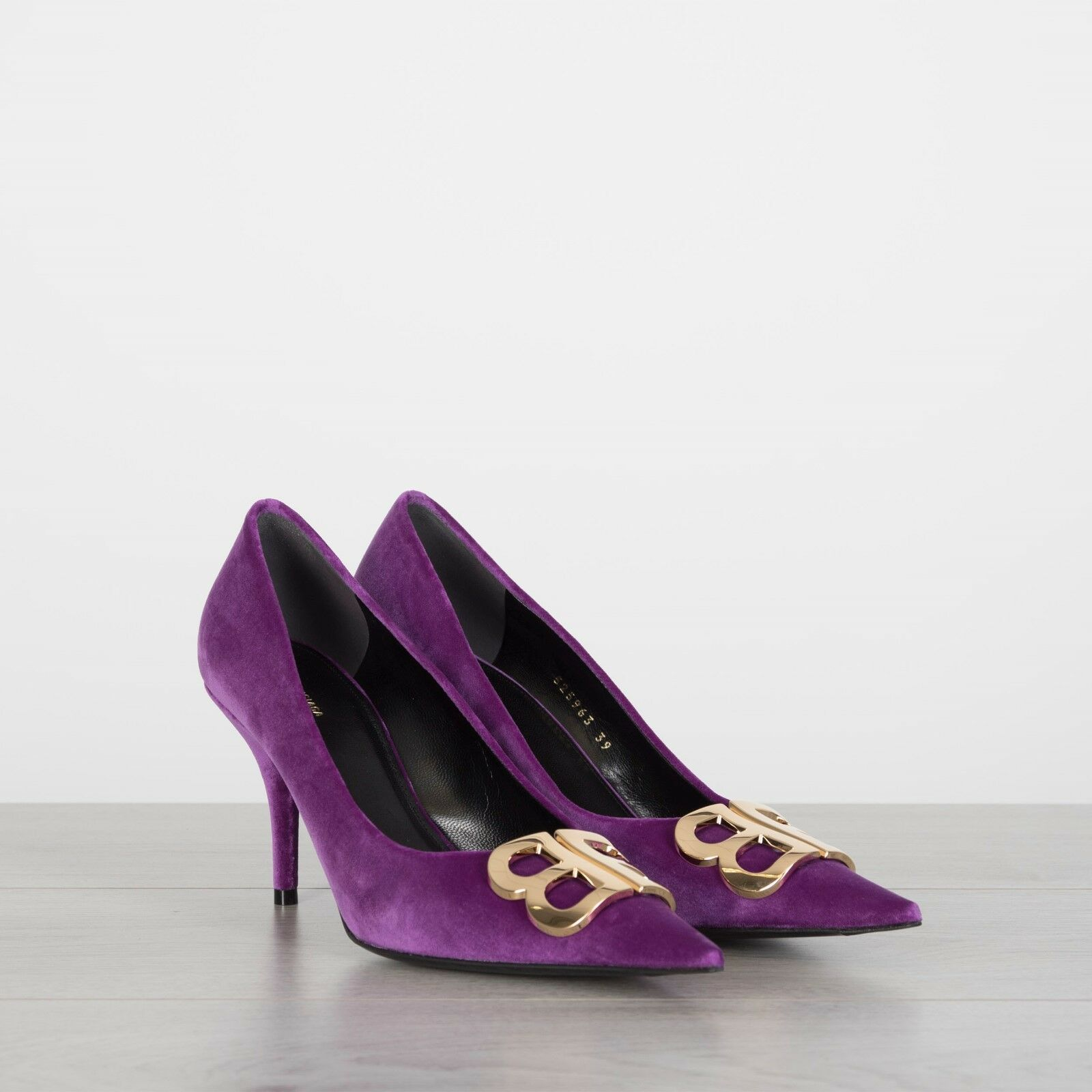 BALENCIAGA 950  BB Logo Pumps In Purple Velvet