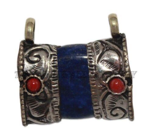 Lapis Pendant Boho Pendant Silver pendant Tibetan Pendant Nepalese Pendant