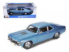Maisto 1/18 Scale 1970 Chevy Nova SS Super Sport Blue Diecast Car Model 31132