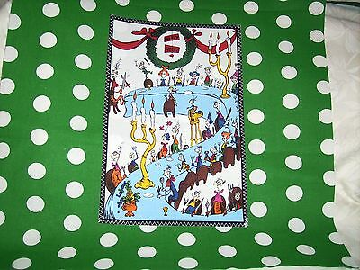 "Pillow COVER 16"" Dr. Seuss Grinch everyone at the table green #2"