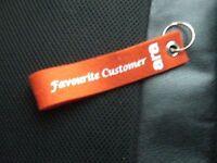 Werbeartikel Schlüsselanhänger - rot/weiß - ara-Schuhe