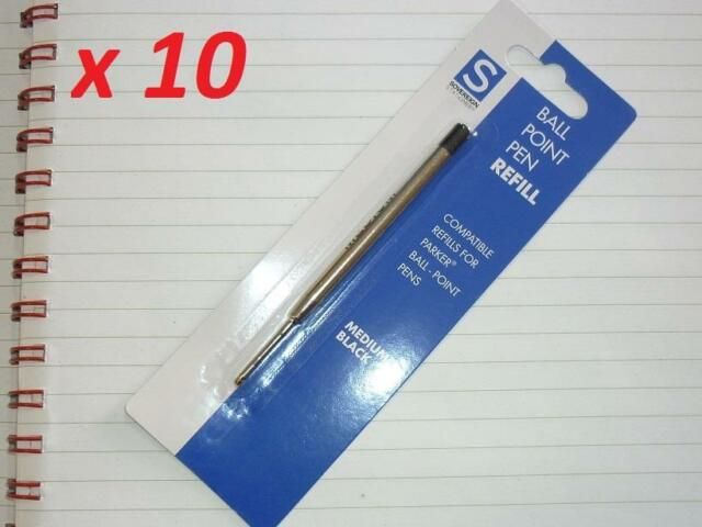 10x Ballpoint pen refill for Parker and other same style ball pen Med Black