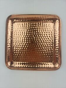 Crate Barrel Handmade Hammered Copper Square Tray 13 5 X Some Patina Ebay