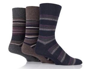 3 Pairs Mens Black Brown Grey Striped Cotton Gentle Grip Socks, UK Size 6-11