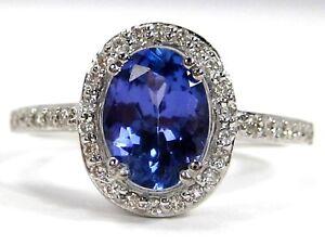 Tanzanite Ring 14K White Gold Pave Halo Diamonds Heirloom