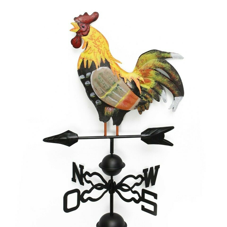 48 in Metal Weather Vane / Wind Wheel Garden Stake with Rooster Ornament