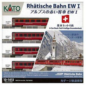 KATO-10-1413-N-Gauge-Alps-Red-Carrier-Ew-I-4-Both-Basic-Set-Trains-Model-Car