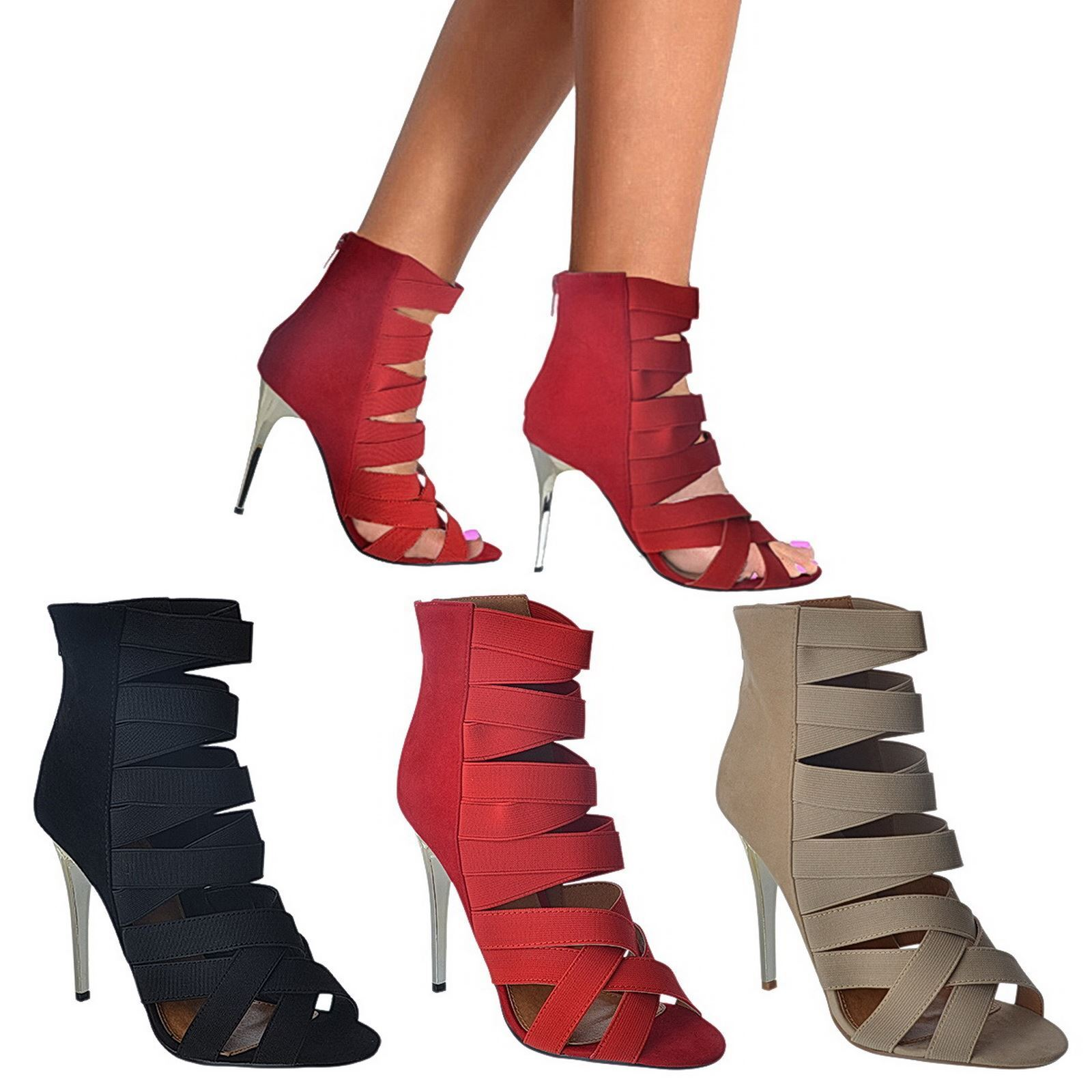 WOMENS LADIES HIGH HEEL ELASTIC STRETCH ZIP UP GLADIATOR ANKLE BOOTS SHOES SIZE