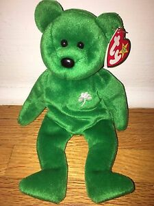 Image is loading Beanie-Baby-1997-TY-Green-Bear-White-Clover- 21b56d5df14