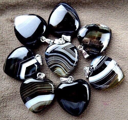 9pcs 21x21x5mm black stripes agate heart pendant bead VF149