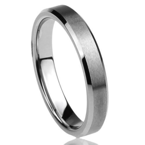 4MM Titanium Womens Rings Beveled Edges Brushed Comfort Fit Classy Wedding Bands