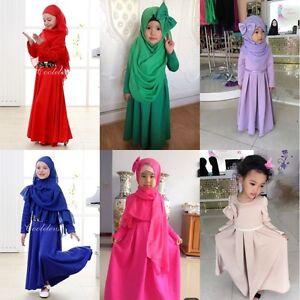 10cf67647cf Muslim Girls Long Dress Abaya Scarf Hijab Arab Kids Maxi Robe ...