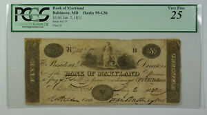 Jan-2-1831-5-Bank-of-Maryland-Baltimore-MD-PCGS-25-Haxby-MD-95-G36