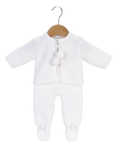 BABY GIRL BOY LOVELY SPANISH KNITTED WHITE POM POM JACKET /& LEGGINGS OUTFIT SET