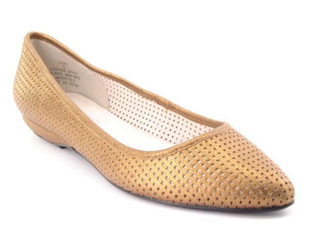 New STEVE MADDEN Women Bronze Leather Ballet Flat Slip On shoes Sz 8 M