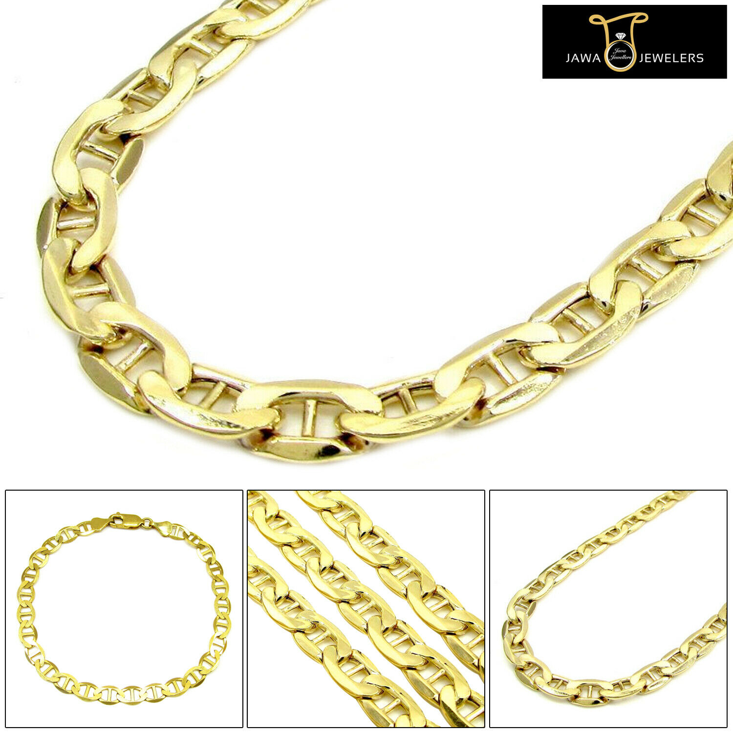 Mens Womens 10K Solid Yellow gold Flat Mariner Link Chain Bracelet 6.5MM 8  - 9