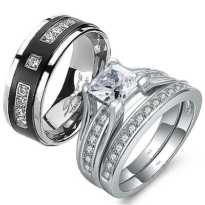 His Hers 2 Pcs CZ .925 Sterling Silver Black Titanium Wedding Ring Band Set