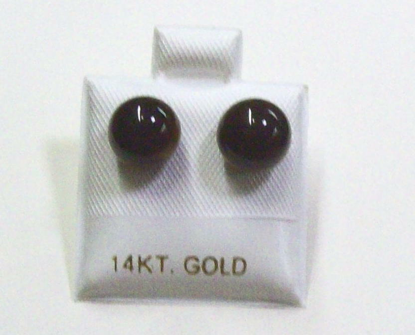 Tiger's Eye 8mm Round Stud Post Earrings With 14K gold Post.