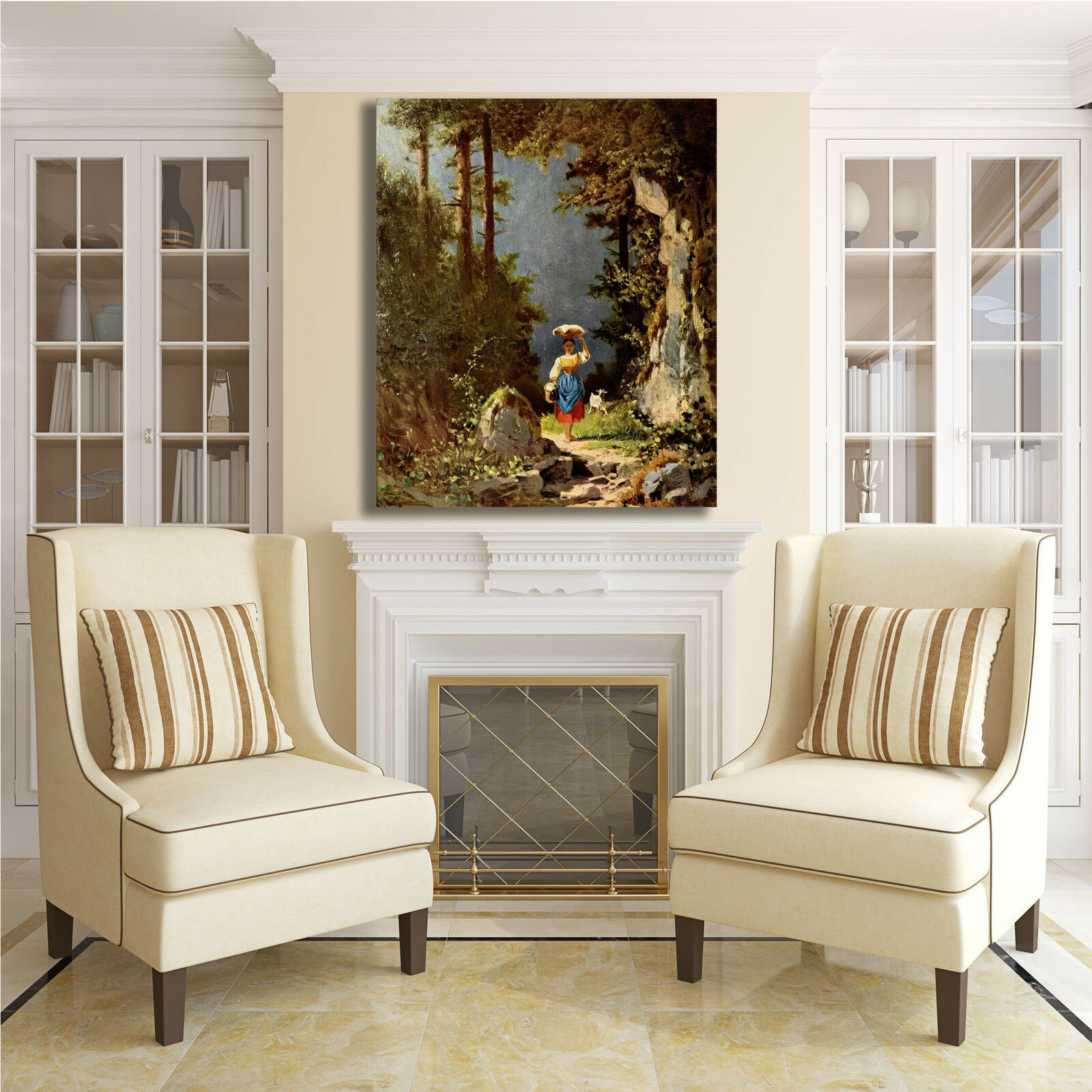 Spitzweg ragazza con con con capra design quadro stampa tela dipinto telaio arRouge o casa eb66bb