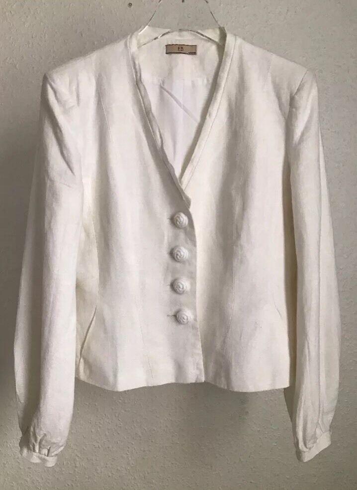 Evie Belle Designer Linen White Elegant Blazer 10 12