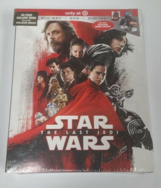 Star Wars The Last Jedi With Collectible 40 Page Gallery Book Blu-Ray DVD NEW