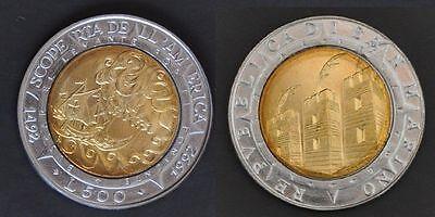 SAN MARINO BIMETAL 500 LIRA UNC COIN 1992 YEAR KM#286 COLUMBUS SHIP